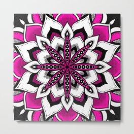 Mandala : Pink Black Flower Mandala Metal Print