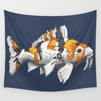 study Wall Tapestries featuring Koi Study by Ken Coleman