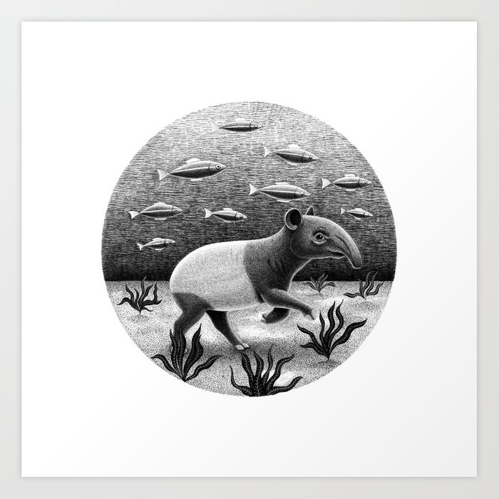 Tapirs can walk underwater | Black and White Illustration Art Print