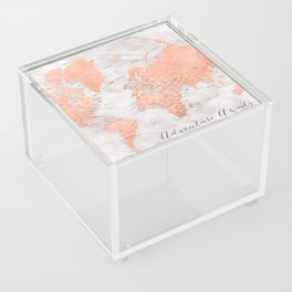 """Adventure awaits world map in rose gold and marble, """"Janine"""" Acrylic Box"""