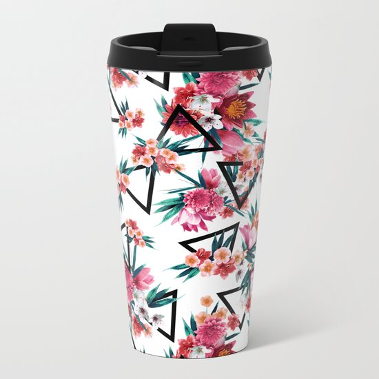 Flowers And Geometric Pattern Metal Travel Mug