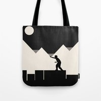 climbing Tote Bags featuring Climbing out by Tammy Kushnir