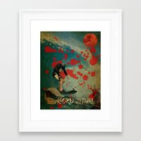 hokusai Framed Art Prints featuring Delfin Hokusai by Lobuno