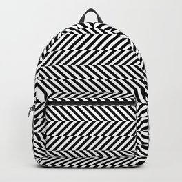 Hypnotic Black and White, Trippy Optical Illusion Vertical & Horizontal Stripe Pattern Backpack