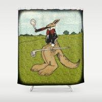 kangaroo Shower Curtains featuring Uptown Kangaroo by Adam Metzner