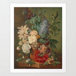 Flowers in a Terra Cotta Vase by Albertus Jonas Brandt Art Print