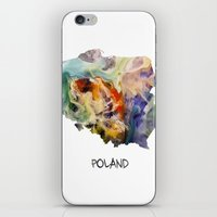 poland iPhone & iPod Skins featuring Map of Poland watercolor by jbjart
