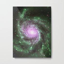 Pinwheel Galaxy Pink Green Metal Print