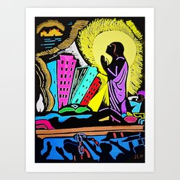 African American Masterpiece 'Faith Builds in the Dungeon' by James Lesesne Wells Art Print