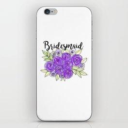 Bridesmaid Wedding Bridal Purple Violet Lavender Roses Watercolor iPhone Skin
