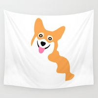 corgi Wall Tapestries featuring Corgi Smile by Antique Images