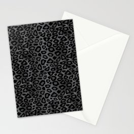 Gray and Black Exotic Leopard Animal Pattern Stationery Cards