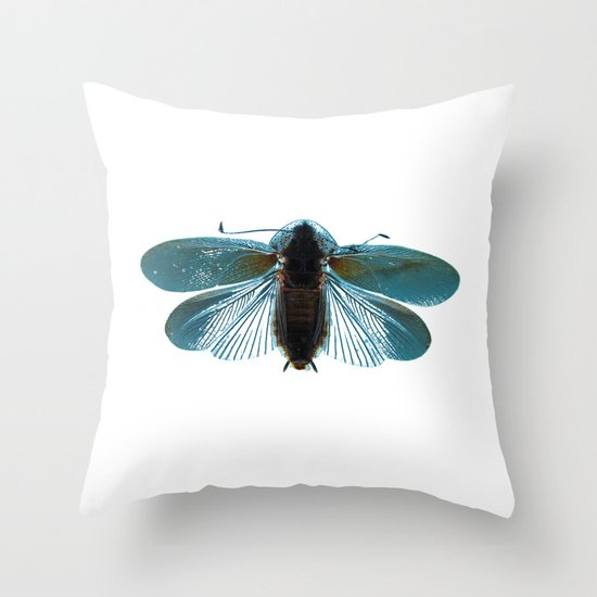 Blue Moth Throw Pillow