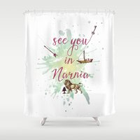 narnia Shower Curtains featuring See you in Narnia by Sybille Sterk