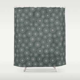 Geometrical floral design in metal green tints Shower Curtain