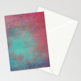 Grunge Garden Canvas Texture:  Pink and Turquoise Ornate Stationery Cards
