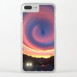 Spiral Street Sunset Clear iPhone Case