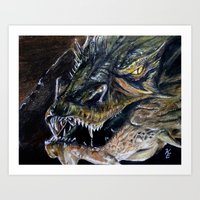 smaug Art Prints featuring Smaug by Kait Evensen Art