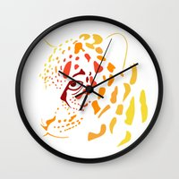 jaguar Wall Clocks featuring Jaguar by Icela perez bravo