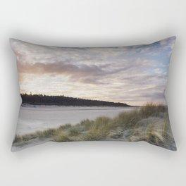 Sunset and beach huts. Wells-next-the-sea, Norfolk, UK. Rectangular Pillow
