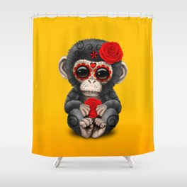 Red and Yellow Day of the Dead Sugar Skull Baby Chimp Shower Curtain