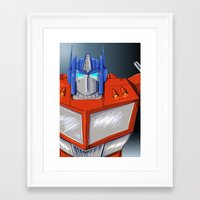 optimus prime Framed Art Prints featuring Optimus Prime by Mercedes