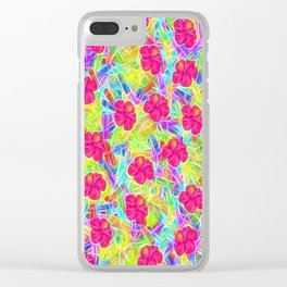 Hawaiian Pink Flowers Clear iPhone Case