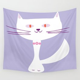 cool white cat Wall Tapestry