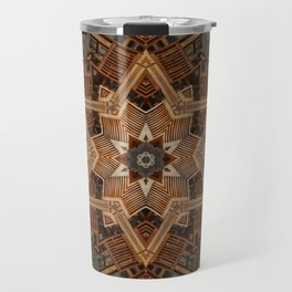 geometric wood hexagram Travel Mug