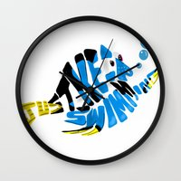 "finding nemo Wall Clocks featuring ""just keep swimming"" (Finding Nemo- Dory) by Art of Fernie"