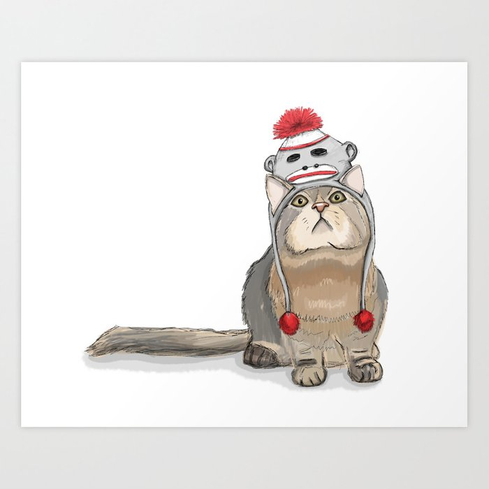 Sock Monkey Hat Cat Art Print