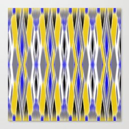 ikat geo in yellow with a splash of blue Canvas Print