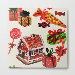 Christmas Vintage Family House Candy Cane Gingerbread Metal Print