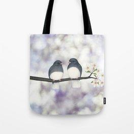 dark eyed juncos (bokeh and blossoms) Tote Bag