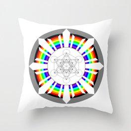 Metatron's Cube in Dharmachakra Throw Pillow