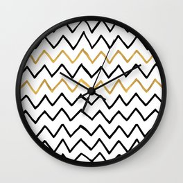 Writing Exercise- Simple Zig Zag Pattern - Black on White Gold - Mix & Match Wall Clock