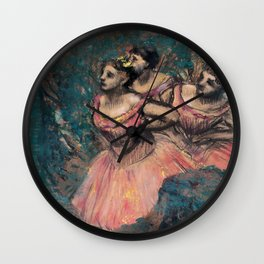 Edgar Degas - Three Dancers in Red Costume Wall Clock