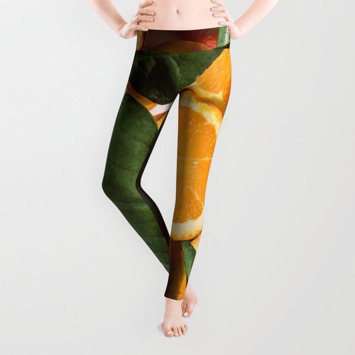 Orange Fruit Pattern Photography Leggings