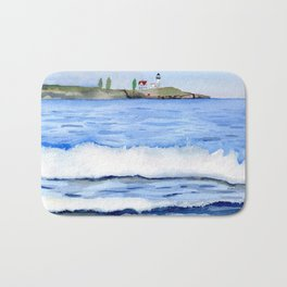 Ocean waves with Lighthouse Watercolor Art Bath Mat