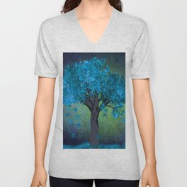 TREE OF BLUE Unisex V-Neck