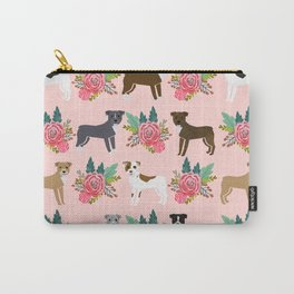 Pitbull Terrier flowers cute dog art pet portraits custom dog breed must have pitbull owner gifts Carry-All Pouch