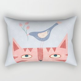 Cat, bird and flower Rectangular Pillow