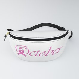 Word October with pink ribbon that stand for breast cancer awareness month Fanny Pack