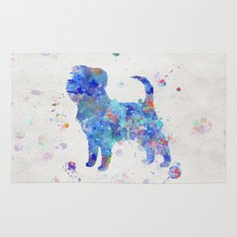 Affenpinscher Dog Watercolor Blue Colorful Abstract Rug