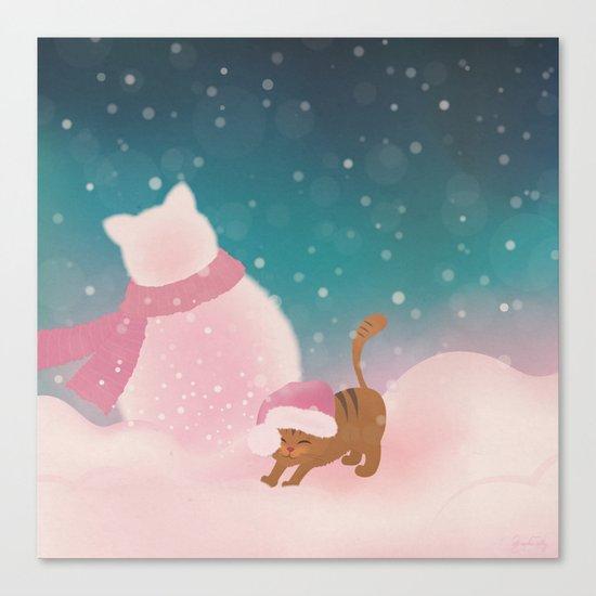 Snow Tabby Cat & Her Snowman, Indigo Snowy Background Canvas Print