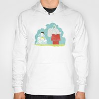 peanuts Hoodies featuring Elephants Love Peanuts by Teo Zirinis