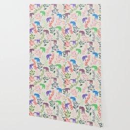 Watercolor Flowers & Elephants Wallpaper