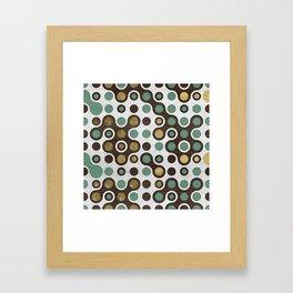Geometric Pattern - Teal, Wood and Golden Texture Framed Art Print