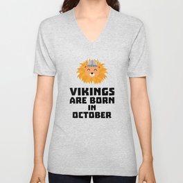 Vikings are born in October T-Shirt D0v8r Unisex V-Neck