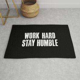 Work Hard, Stay Humble black and white monochrome typography poster design home decor bedroom wall Rug